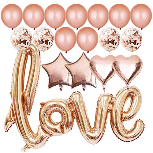 Simona Micah 40 Inch Rose Gold Love Balloons Kit Valentines Day Decorations and Gift for Him or Her Rose Gold Foil Heart Balloons Decorations]()