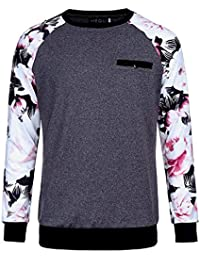 Men's Floral Print Long Sleeve T-Shirt Athletic Blouse Splice Pullover