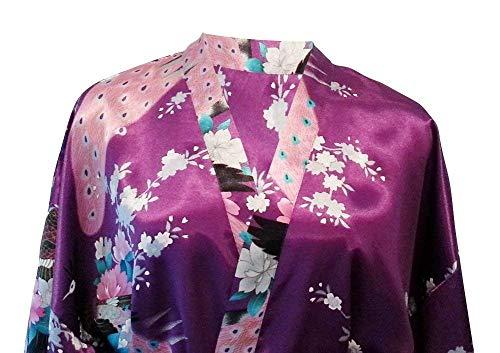 Mujer Vestido Largo Especial Tamaño Kimono Albornoz Estilo Camisón Un Floral Moda Vintage Violett Elegante Para Rosado Estampado Pijama qEFnfrE
