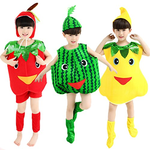 [Halloween Costumes Children/Adult Fruits Style Clothes Christmas Cosplay Apple Pear Watermelon Clothes (XXL/adult Height 170-180cm, Green] (Adult Pear Costumes)