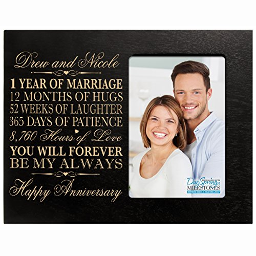 Personalized one year anniversary gift her him couple Custom Engraved 1st year wedding celebration for Husband wife girlfriend boyfriend photo frame holds 4x6 photo by DaySpring International (Black)