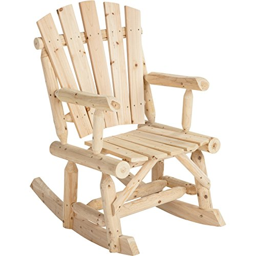 Outdoor Log Adirondack Rocker / Rocking Chair - Natural Wood Product SKU: PF09102 (Ground Rocking Chair)