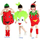 Halloween Costumes Children/Adult Vegetables Cabbage Style Clothes Christmas Cosplay Watermelon Apple Fruits Clothes (L/Child Height 100-120cm, Red Watermelon)