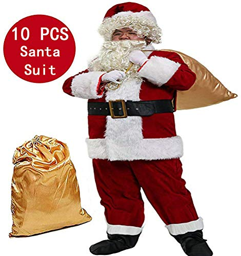 Epsion 10 Pcs Men Santa Suit Accessories, Deluxe Adults Christmas Santa Claus Costume