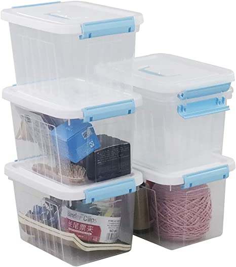 Leendines 5 Quart Storage Box Tote with Lid Black Handle 6 Packs Plastic Bin