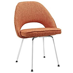 LexMod Saarinen Style Side Chair in Orange Fabric