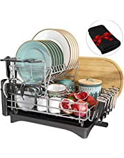 Dish Drying Rack, Qienrrae 2 Tier Large Dish Rack and Drainboard Set for Kitchen Counter, Stainless Steel Dish Drainer Tray with Swivel Spout, Wine Glasses Holder and Dish Drying Mat
