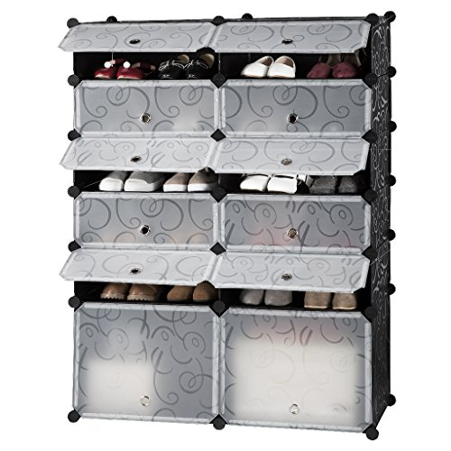langria 12 cube diy shoe rack multi use modular organizer. Black Bedroom Furniture Sets. Home Design Ideas