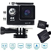 SENYE Ultral HD Waterproof Sport Camera 4K Wi-Fi Action DV 32GB Camcorder with 170 Degree Lens for Extreme Outdoor Sports - 2 batteries+32GB