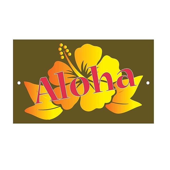 Cheyan Aloha - Cartel de Aluminio con diseño de Flores ...