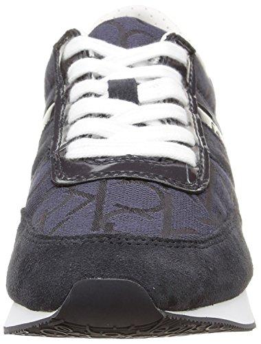 Calvin Klein Women's Tea Ck Logo Jacquard/Patent Low-Top Sneakers Bleu (Bbm) 3Hpop9qa