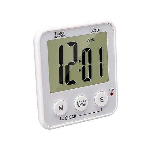 MagiDeal Temporizador de Cocina Digital Magnética Cuenta Regresiva Alarma de Reloj con Pantalla LCD Grande