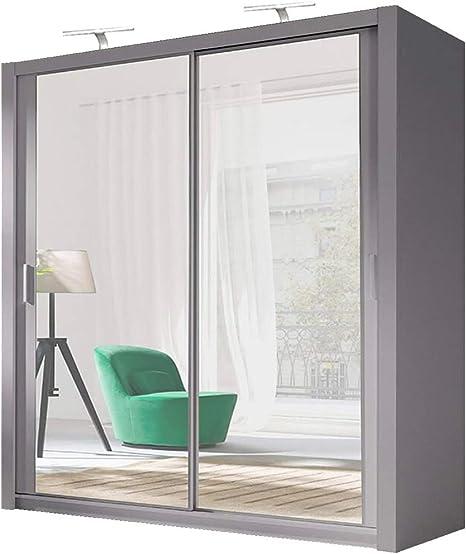 Milan - Armario de Puerta corredera con Espejo Completo, Gris, 100 cm: Amazon.es: Hogar