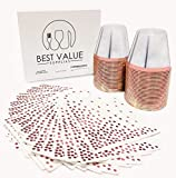 Best Value Supplies 9 Oz Rose Gold Rimmed Clear Plastic Cups and Cocktail Napkins Set (50 Pack of Each) - Elegant Heavy Duty Disposable Party Tumblers
