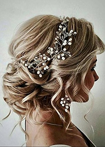 FXmimior Bride Hair Accessories Crystal Hair Vine Earrings Sets Headband Wedding Hair Comb Evening Party Hair Piece (rose gold) (headband only)