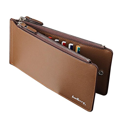 YJYdada Men's Business Style Leather Card Holder Billfold Purse Long Wallet (Coffee)