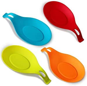 iNeibo Kitchen Silicone Spoon Rest, Flexible Almond-Shaped, Silicone Kitchen Utensil Rest Ladle Spoon Holder (Colorful Small)
