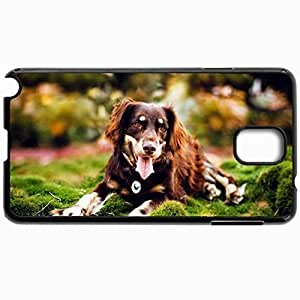 Customized Cellphone Case Back Cover For Samsung Galaxy Note 3, Protective Hardshell Case Personalized Dog Nature Background Black
