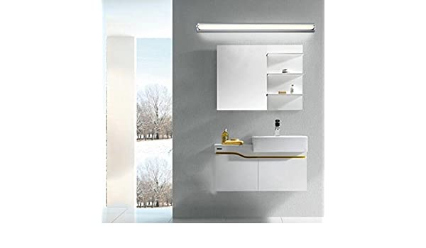 BiuTeFang LED espejo luz frontal ajustable simple baño blanco estanco antiniebla espejo 60cm 14W: Amazon.es: Iluminación