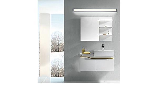 BiuTeFang LED espejo luz frontal ajustable simple baño blanco estanco antiniebla espejo 60cm 14W: Amazon.es: Iluminación