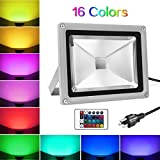 Tools & Hardware : warmoon Outdoor LED Flood Light 20W RGB Color Changing Waterproof Wall Security Spotlights with US 3-Plug & Remote Control