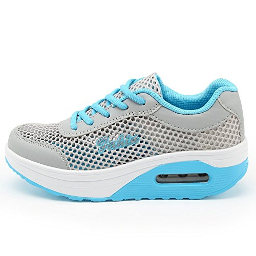 XMeden Women's Mesh Lace Up Sport Running Shoes Rx1317 Blue kb1k3S