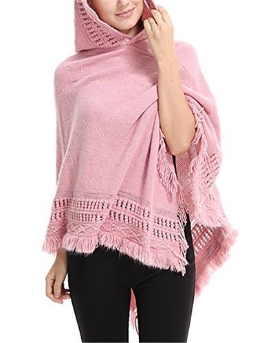 SUNNYME Women Solid Color Poncho Hooded Fringes Crochet Shawl Capes Cover Up Cardigan Pink One Size