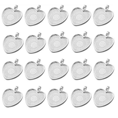 IGOGO 20 PCS Heart Pendant Trays Pendant Blanks Cameo Bezel Cabochon Settings - 25 mm 1 Inch Silver Color