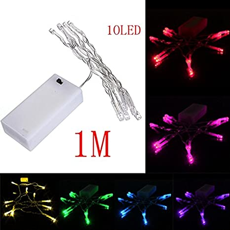 lights lighting 1m 10 led battery powered christmas wedding party string fairy light