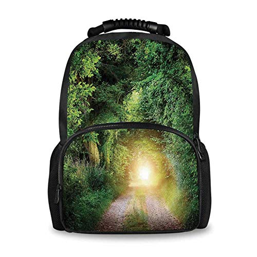 - Magical Adorable School Bag,Fantasy Path Leading to Mystical Illuminated Tunnel between Trees Night Shot View for Boys,12