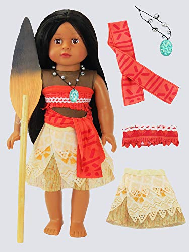 - Moana Inspired Outfit with Wooden Paddle | Fits 18