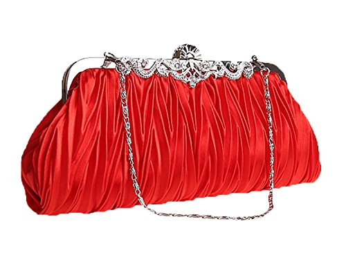 (CLT-02-EE) Zakka Republic Women Vintage Satin Pleated Evening Cocktail Wedding Party Handbag Clutch Purse w/Shoulder Chain (Red)