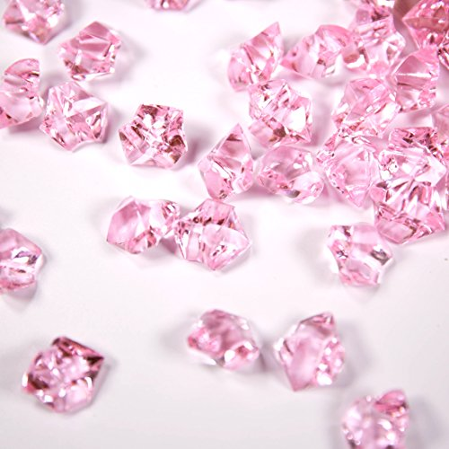 PAUBOLI Acrylic Fake Gems 1.2lbs (200pcs) + $ Money Bag a Set Vase Fillers Wedding Party Decorations Pretend Pirate Treasure Jewels (Transparent Pink)