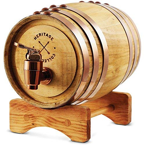 REFINERY AND CO Miniature Wood Whiskey Barrel Dispenser 800 ml/27 fl oz Volume, for Serving and Entertaining, Table Home Accent Display & Storage of Spirits, Liquors; Great Gift for Men and Women