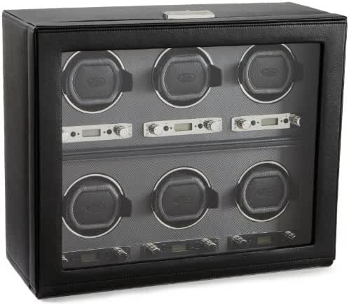 WOLF 456802 Viceroy Six Piece Watch Winder with Cover, Black