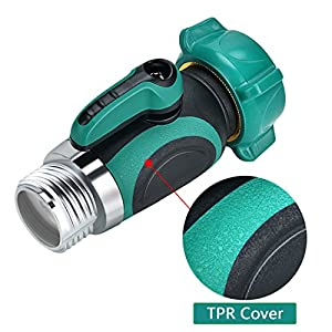 Garden Hose Shut Off Valve, Yuelife Connect Outside Spigot Friendly Faucet Extension - With Smooth Long Knobs And 2 Repalceable Washers for Easy Garden Life-Green (1 Way Garden Hose Shut Off Valve)