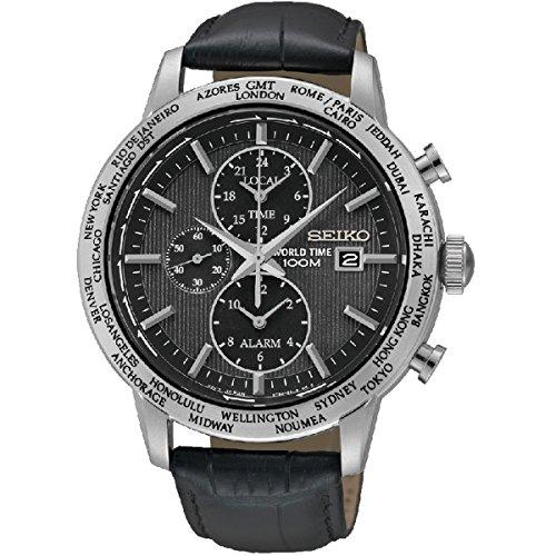 Seiko SPL049 P2 Black Dial World Time Alarm Black Leather Strap Men's Quartz Analog Watch