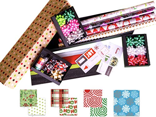 Premium Christmas Gift Wrapping Paper 4-Roll Assortment Vari