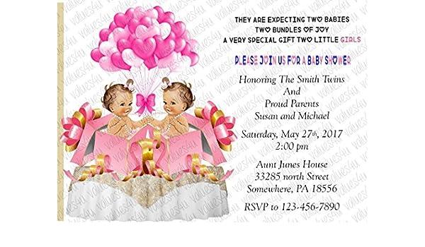 Amazon Twin Girls Personalized Baby Shower Invitations Twin