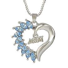 "Ever Faith Mother's Gift Austrian Crystal Love Heart ""Mom"" Pendant Necklace"