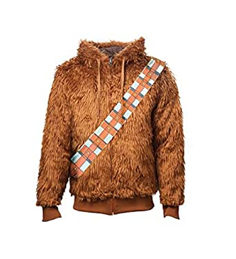 Star Wars Zip Hoodie Furry Chewbacca Costume Official Mens Brown Reversible
