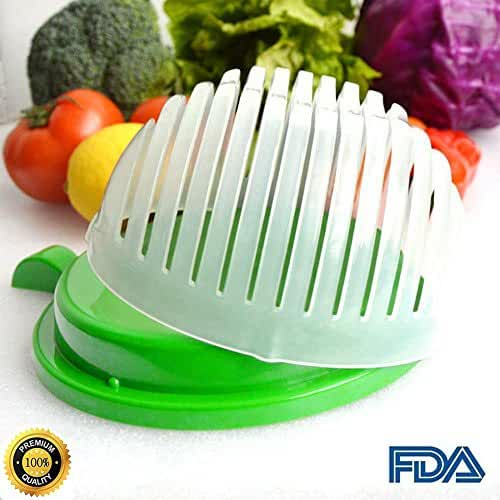 Unihoh Updated Design 60 Second Salad Cutter Bowl, Salad Maker, Salad Bowl, Vegetable Salad chopper, Salad Shooter, Salad Server-Make Your Salad in 60 Seconds (Green)
