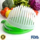 Unihoh Updated Design 60 Second Salad Cutter Bowl, Salad Maker, Salad Bowl, Vegetable Salad chopper, Salad Shooter, Salad Server-Make Your Salad in 60 Seconds (Green)