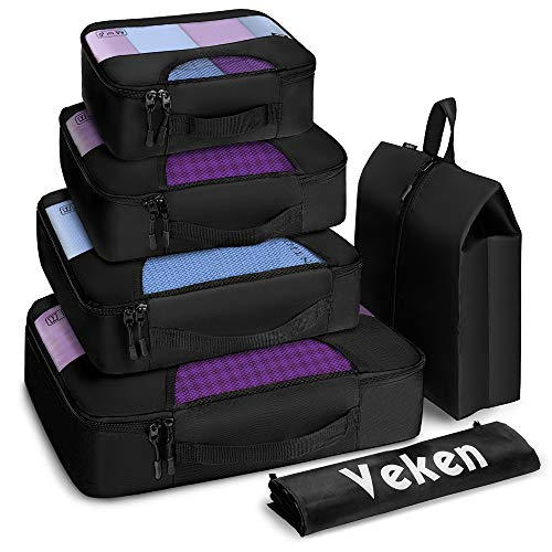 Veken 6 Set Packing Cubes, Travel Luggage Organizers with Laundry Bag & Shoe Bag (Black(Upgraded)) ()