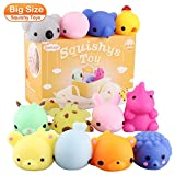 Satkago 3rd Generation Squishys Toys, 12pcs Big Upgrade Size Mochi Kawaii Squeeze Cartoon Animal Toys for Kids Adults Stress Relieve Pressure Release Anxiety Toy