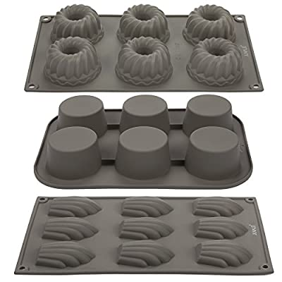 Cupcake Molds / Seashell, Muffin, Bundt Cake Molds - 3 Piece Set - Nonstick Silicone Bakeware Baking Set For Chocolates, Candies, Soap, Pastries - Grey