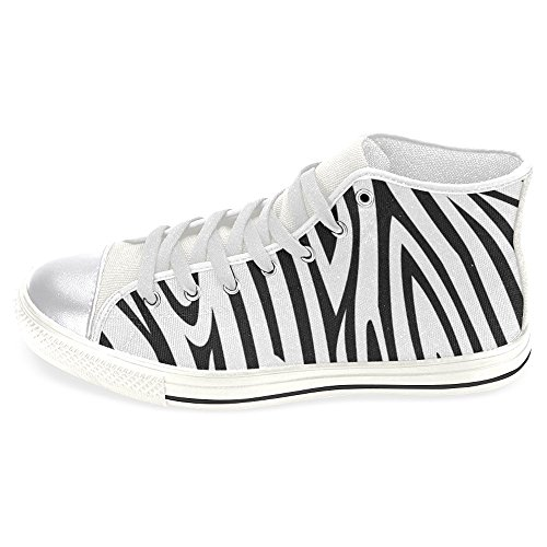 INTERESTPRINT Women's High Top Classic Casual Canvas Fashion Shoes Trainers Sneakers Black White Zebra Print Size 8 (Top Sneakers High Zebra)