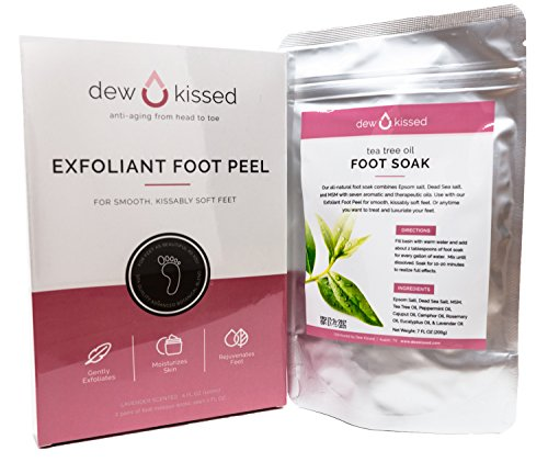 Foot Peel Exfoliant + Foot Soak For Baby Soft Feet, Lavender & Tea Tree Oil | Spa Quality Advanced Botanical Blend For Smooth, Kissably Soft Feet by Dew Kissed