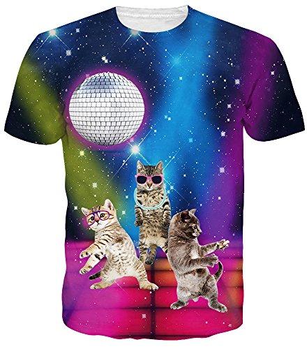 Idgreatim Summer Women 3D Printed Tee Shirt Cat T-Shirt Harajuku t Shirts Small (Cat Shirts For Men)