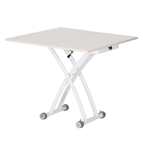 DEVAISE Height Adjustable Multi Function Dining Table / Coffee Table, White